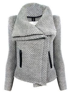 Grey waffle knit moto jacket
