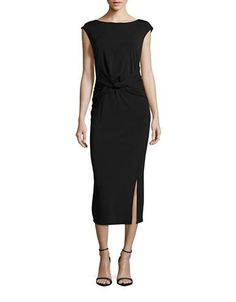H Halston Draped Sleeveless Maxi Dress Women's Black X-Large