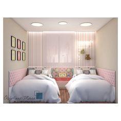Duas opções para mesmo quarto de princesas 👸🏼 👸🏻. A cama de viúva é encontrada em 2 opções no mercado brasileiro : 1,10x2,00m ou 1,28x1,88. Na primeira trabalhamos com maior circulação entre as camas optando pela de 1,10x2,00 e uma linda cabeceira capitonê foi a opção já que a circulação do quarto permitiu. ________________________________________________________ #quartodemenina #quartodemeninas #interiores #interioresbh #projeto #capitonê #botonê #decoracao #decoracaobh #lifestyle… Beds For Small Rooms, Small Guest Rooms, Twin Girl Bedrooms, Girls Bedroom, Diy Room Decor, Bedroom Decor, Home Decor, Couple Room, Old Room