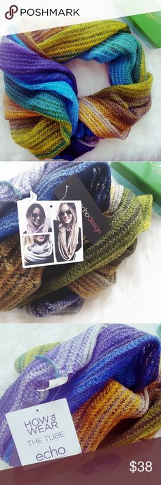 Echo Woven Infinity Wrap, Brand New! Cozy and non-itchy woven infinity scarf from Echo.  This style is called the Tube and it has lovely colors that are perfect for fall.  Brand new with tags still attached, ready to keep you cozy and cute! Echo Accessories Scarves & Wraps