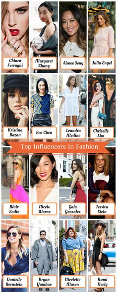 Here are the top influencers in Fashion who made their mark with blogs or social media platforms.They have content ranging from upscale fashion shows to street syle. Be sure to follow them for your daily fashion inspiration.  - Chiara Ferragni - Margaret Zhang - Aimee Song - Julia Engel - Kristina Bazan - Eva Chen - Leandra Medine - Chriselle Lim - Blair Eadie - Nicole Warne - Gala Gonzalez - Jessica Stein - Danielle Bernstein - Bryan Yambao - Nicolette Mason - Rumi Neely