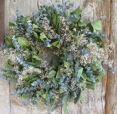 20 inch Lemon Leaf, Eucalyptus and Baby's Breath Wreath - Dried Flowers. $25.99, via Etsy.