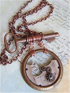 Watch part and Vintage Key Pendant  Juncture  by steampunkjunq,