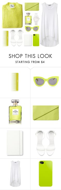 """""""Neon Yellow/Green"""" by officialanya ❤ liked on Polyvore featuring Olive, Karen Walker, Chanel, Monki, Moleskine, Zara, Helmut by Helmut Lang, Marc by Marc Jacobs, neon and acne"""