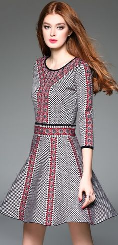 Spring Fall Winter Round Neck 3/4 Sleeve Jacquard A-line Dress