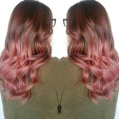 Peach Rose balayage ombre sweeping from Sonia Provost