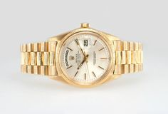 Rolex Yellow Gold President Spanish Day Wheel Bark Finish Wristwatch Ref 1807 | From a unique collection of vintage wrist watches at https://www.1stdibs.com/jewelry/watches/wrist-watches/