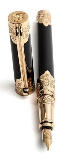 This version of the Second Empire pen is meant to be more ergonomic and a day-to-day pen. The body is in black placed lacquer with engraved pale gold finishes. The clip is inspired by Second Empire furniture. #SecondEmpire #STDupont Available at LightersDirect.com