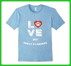 Mens LOVE MY GREAT PYRENEES HEART DOG PAW SHIRT XL Baby Blue - Animal shirts (*Amazon Partner-Link)
