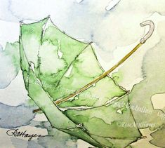 Green Umbrella in the Rain Watercolor Painting by RoseAnn Hayes, prints are available in my shop a@ http://11main.com/watercolorsbyroseannhayes #OilPaintingRain