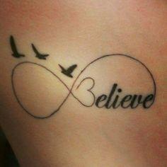 infinity tattoo - Believe Mini Tattoos, Tattoos Skull, Feather Tattoos, Wrist Tattoos, Trendy Tattoos, Love Tattoos, Beautiful Tattoos, Body Art Tattoos, New Tattoos