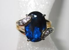 14K GOLD ELECTROPLATED  BLUE SAPPHIRE  CZ RING