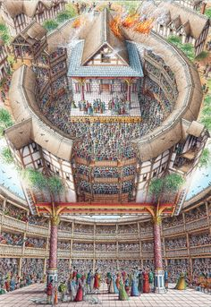 Stephen Biesty - Illustrator - Inside-out Views_Globe Theatre teathre Globe Theater, Elizabethan Theatre, Renaissance Theater, Shakespeare In Love, William Shakespeare, London History, Les Oeuvres, Medieval, Castle