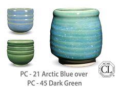 AMACO Potter's Choice layered glazes PC - 45 Dark Green and PC - 21 Arctic Blue.