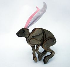 Little Poseable Grey Hare with Pink Ears by LauraMathewsArtist, £60.00