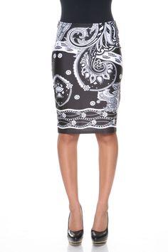 b38ab750b1 White Mark Pretty & Proper Pencil Skirt, Size: Small, 83-Black/White