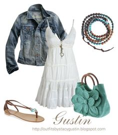 """""""jean jacket part 2"""" by stacy-gustin ❤ liked on Polyvore featuring Madewell, Mar y Sol, Giuseppe Zanotti, Wet Seal, Chan Luu, top handle bags, jean jackets, embellished wrap bracelets and multi-strap sandals"""