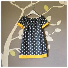 Girls peasant dress, polka dots, grey and yellow, baby dress on Etsy, £15.90