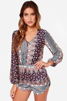 Personal Space-ly Navy Blue Paisley Print Romper at LuLus.com! AHH I want this! Can't find it anywhere.