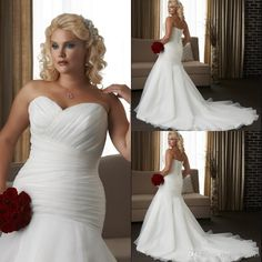 Vestido De Noiva Plus Size Wedding Gowns White Ruched Pleat Sweetheart Organza Banage Back Mermaid Bridal Gowns With Long Train Vintage Inspired Wedding Dresses Wedding Dress Shops From Chenguang2015, $120.99  Dhgate.Com