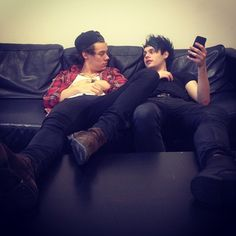 """Michael and Harry! Lol Harry looks like he is in an intense conversation, while Michael is just asking what day it is!  Harry,""""Yeah I totally get it man... Life passes by so fast. I feel bad for the people who don't live.""""  Michael,""""Dude I just wanted to know the day because that TV show comes on soon!"""" Harry,""""I hear ya mate, life is nothing like they say in TV... Well maybe MTV but less partying..."""""""