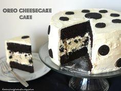 Oreo Cheesecake Cake ...what a cute idea on how to make a polka dot cake :D