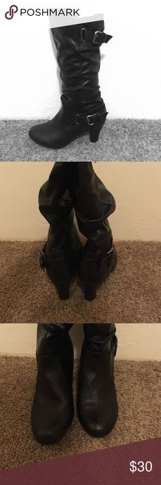 Madden Girl Black Boots Dressy heeled black boots, gently worn. 2 inch heels, extremely comfortable. Madden Girl Shoes Heeled Boots