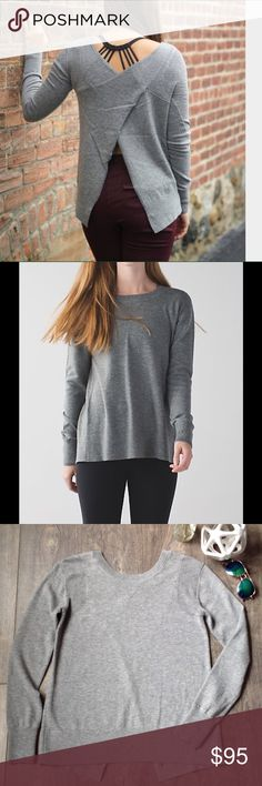 Lululemon Sunset Savasana pullover sweater EUC, Heather grey, cross back and can be buttoned at the bottom in back, rip tag gone but I think a 6, measurements taken laid flat: bust 18\