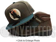 California Angels Mahogany Brown Field Green Copper Beef & Broccoli Matching New Era Fitted Hat UP NOW ON MYFITTEDS.COM