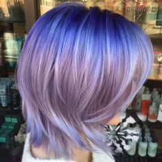 Simple shattered bob with a rich violet root shading melted into a smokey lavender. So simple and yet so impactful. Love using pravana vivid colors to customize a clients look. www.frizzlessalon.com old town location or www.instagram.com/rubydevine for more of my work
