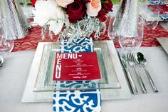 I love the napkin and menu placement. against square plates. Red and Navy Blue Wedding Inspiration Glamour Shoot, Printed Napkins, Square Plates, Red And Blue, Navy Blue, Wedding Inspiration, Wedding Ideas, Event Planning, Menu