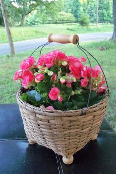 Art Photograph Coral Floral Basket In Country by AntiquesandVaria, $12.20