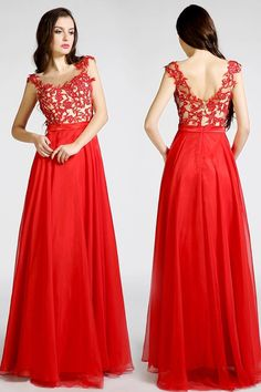 Open Back Red Long Lace Beaded Prom Evening Dresses