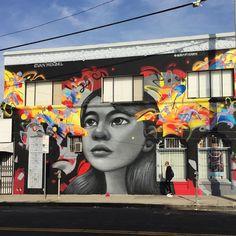 Cool mural by Evan Mendel in Koreatown, Los Angeles