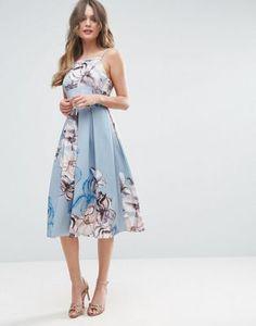 ASOS Strappy Pinny Floral Midi Debutante Dress