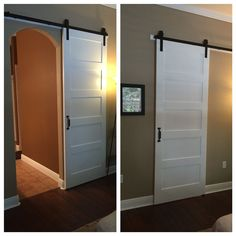 DIY barn door can be your best option when considering cheap materials for setting up a sliding barn door. DIY barn door requires a DIY barn door hardware and a Interior Doors For Sale, Room Doors, Sliding Doors, Barn Door Handles, Arched Barn Door, Modern Barn, Interior, Wood Doors Interior, Doors Interior