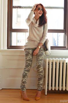 Sweater + camo jeans + mustard heels + bag + aviator sunnies + arm candy + a big smile!