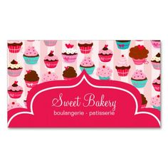 Modern Pink Cupcakes Bakery Business Card Templates