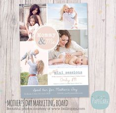 Mother's Day Template Mini Session - Photoshop Template IM012 - INSTANT DOWNLOAD