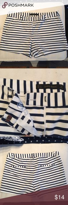 Navy & White Striped Zara Shorts So cute! Tailored white shorts with navy stripes.  Side pockets and back pockets, tab and zip closure. Only worn a couple times - in like new condition! Zara Shorts
