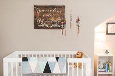 Modern Vintage Nursery - love the adventure decor in this baby boy nursery!