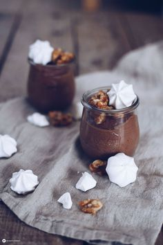 Chocolate mousse with caramelized walnuts and meringue topping delicious dessert Tiramisu Dessert, Mousse, Caramelized Walnuts, Cupcakes, Delicious Desserts, Panna Cotta, Nom Nom, Bakery, Food And Drink