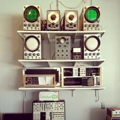 Vintage tone generators and oscilloscopes at the local synthesizer shop.  (from their Instagram feed)