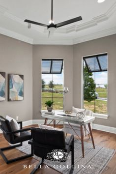 Modern home office with triple viewed windows providing great natural lighting for your work day. Condo Living, Home Office Decor, Home Decor, Ravenna, Great View, Real Estate, Windows, Luxury, Modern