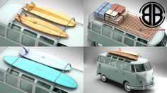 Volkswagen T1 Samba 1963 Accessories 3D Model- Accurate very high definition Volkswagen Type 2 Samba 1963 model with highly detailed interior fully textured and various roof racks, ladders, suitcases, a surfboard rack and surfboards. Headlights and taillights are modelled, doors can be opened. An opened and closed version of the roof is included. The model includes modeled tires.  Most parts of the model have been created as SubDivision/TurboSmooth surface. This means using the 3dSMax or the…