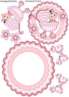 Cute baby in pink gingham with bows flowers rocker on Craftsuprint - Add To Basket!