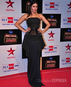 Sonal Chauhan was lovely in strapless SS Surya gown at the Big Star Entertainment Awards 2014