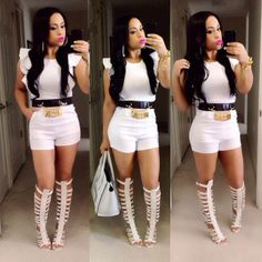 White Romper, Moschino belt & Knee-high gladiator sandals @Pascale's House of Bling