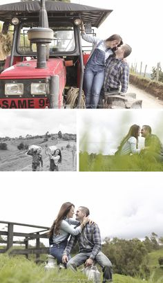 Engagement photo ideas - save the date! - Pre-wedding -preboda - Sweet engagement shoot All about Cow, farm, bean, trees, pier, horse carriage and train