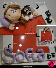 cornice personalizzata #ilovedog #fimo #clay #idearegalo #ele-ganza www.ele-ganza.it